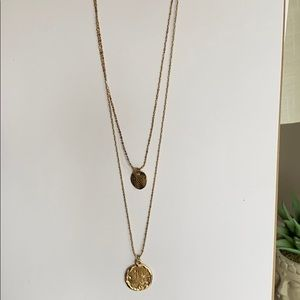 """Gold """"Coin"""" Layered Necklace"""